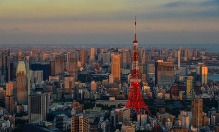 Tokyo, Japan - Sep 29, 2017. Aerial view of Tokyo Tower at sunset. Tokyo ranked first in the Global Economic Power Index and third in the Global Cities Index. Editorial