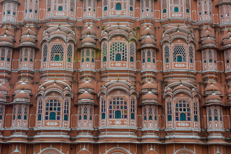 Part of Hawa Mahal (Wind Palace) in Jaipur, India. The Palace was built in 1799 as an extension to the Royal City Palace of Jaipur.