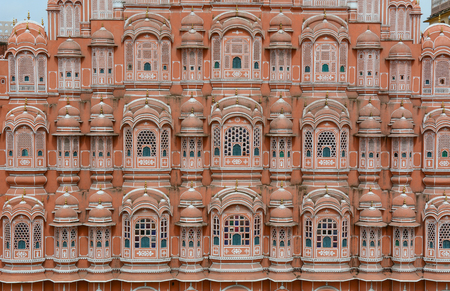 Details of Hawa Mahal (Wind Palace) in Jaipur, Rajasthan, India. Hawa Mahal is a 5-story building that is situated in the heart of the city.