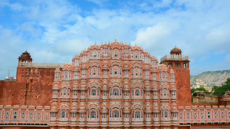 Facade of Hawa Mahal (Wind Palace) in Jaipur, Rajasthan, India. The Palace is a prominent Jaipur tourist attraction because of its elegance and intricate artwork.