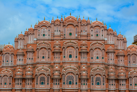 Top of Hawa Mahal (Wind Palace) in Jaipur, Rajasthan, India. Hawa Mahal is a 5-story building that is situated in the heart of the city. Stock Photo