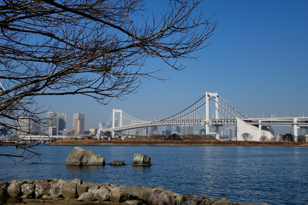 View of Rainbow Bridge on Tokyo Bay, Japan. Rainbow is a 798-meter suspension bridge spanning from Shibaura Pier and the Odaiba waterfront.