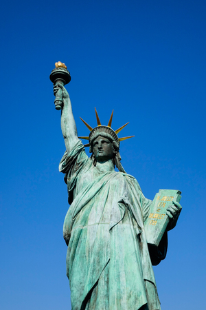 Replicas of the Statue of Liberty at Odaiba Park in Tokyo Japan. Stock Photo