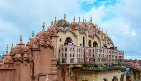 Jaipur, India - Jul 27, 2015. People visit Hawa Mahal (Wind Palace) in Jaipur, India. The Palace was built in 1799 as an extension to the Royal City Palace of Jaipur.