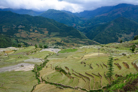 Terraced rice field with mountains in Lai Chau Province, Northern Vietnam. Stock Photo