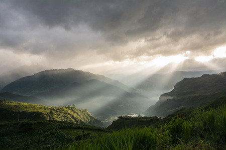 Sunset on mountain in Sapa, Vietnam. Sa Pa is a town in the Hoang Lien Son Mountains of northwestern Vietnam.