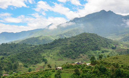 Hoa Lien Son Range at sunny day in Lai Chau Province, North of Vietnam.