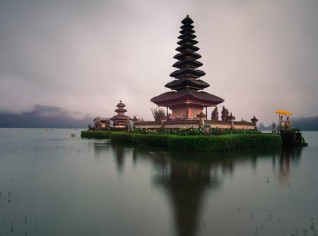 Pura Ulun Danu Beratan (Temple of Water) on Lake Bratan at sunrise in Bali, Indonesia.