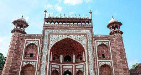 Sandstone gate of Taj Mahal in Agra, India.