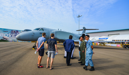 Singapore - Feb 10, 2018. Visitors looking at Gulfstream G550AEW aircraft belong to the Singapore Air Force on display at the 2018 Singapore Airshow.