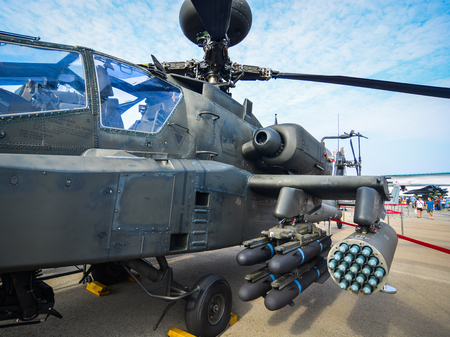Singapore  - Feb 10, 2018. Weapons of Boeing AH-64 Apache helicopter belong to the Singapore Air Force on display at the 2018 Singapore Airshow.
