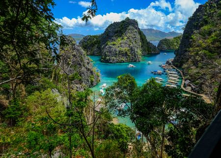 Aerial view of Coron Island in Palawan, Philippines.