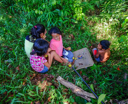 Palawan, Philippines - Apr 10, 2017. Children playing at countryside in Coron Island, Palawan, The Philippines.