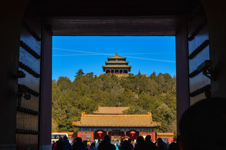 Beijing, China - Mar 1, 2018. A gate of Forbidden City at sunny day in Beijing, China. The complex was declared a World Heritage Site in 1987. Editorial