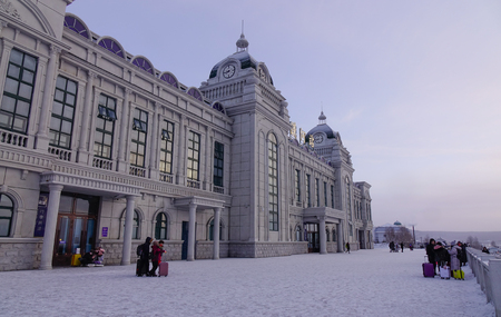 Mohe, China - Feb 19, 2017. View of railway station building at winter in Mohe County, Heilongjiang Province, China.