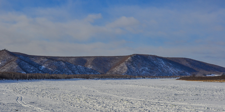 Winter scenery of Mohe County, China. Mohe is located in the far northwest of Heilongjiang. Stock Photo