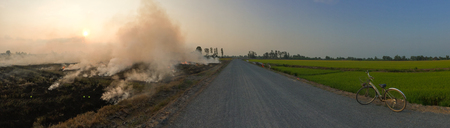 The burning of rice straw on the fields in Mekong Delta, Vietnam.