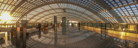 Beijing, China - Mar 1, 2018. Train station of Beijing Capital Airport, China. Beijing Capital is the world second busiest airport by passenger numbers. Redactioneel
