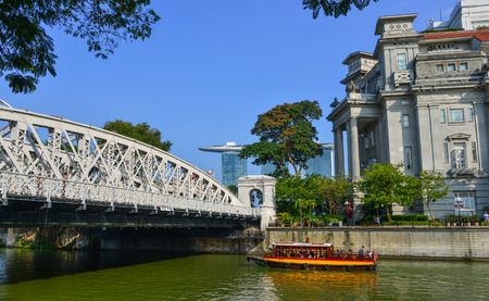 Singapore - Feb 9, 2018. Anderson Bridge over the river at downtown in Singapore. The Bridge was constructed between 1908 and 1910.