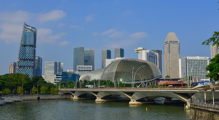 Singapore - Feb 9, 2018. Cityscape of Marina Bay in Singapore. Singapore is ranked highly in education, healthcare, and quality of life. Editorial