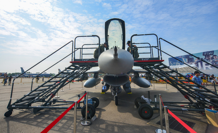Singapore - Feb 10, 2018. A Lockheed Martin F-16 Fighting Falcon fighter aircraft of Singapore Air Force (RSAF) in Changi, Singapore.