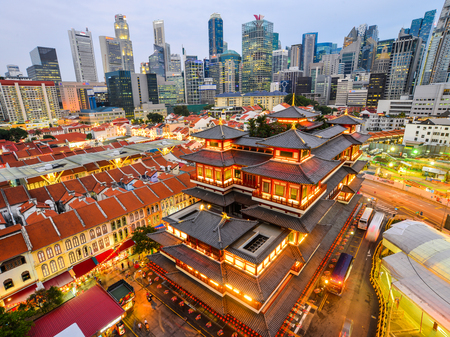 Singapore - Feb 9, 2018. The Buddha Tooth Relic Temple and Museum with Tang dynasty architectural style in Singapore.