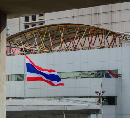 National flag of Thailand at a building in Bangkok. Stock Photo - 97447268