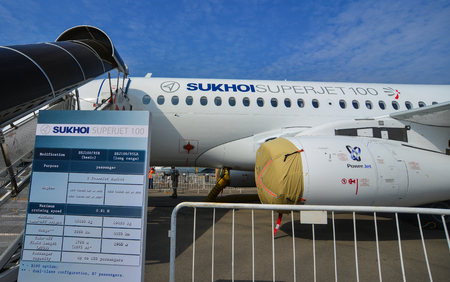 Singapore - Feb 10, 2018. A Sukhoi Superjet 100 aircraft on display in Changi, Singapore. Editorial