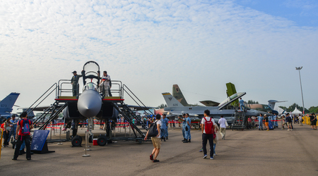 Singapore - Feb 10, 2018. Visitors looking at fighter aircrafts of Singapore Air Force (RSAF) in Changi, Singapore.