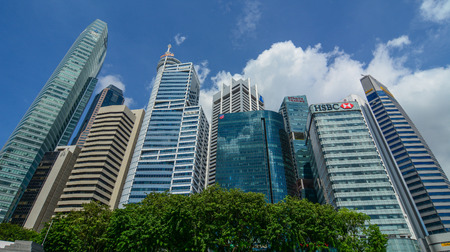 Singapore - Mar 12, 2016. Business district of Singapore. Singapore economy has been ranked as the most open in the world. Editorial