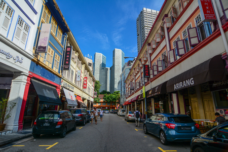 Singapore - Mar 12, 2016. View of Chinatown, Singapore. Singapore Chinatown is a world famous bargain shopping destination.