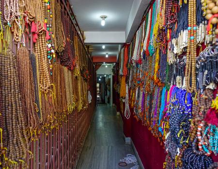 Kathmandu, Nepal - Oct 19, 2017. Souvenir shop on street at Thamel District in Kathmandu, Nepal.