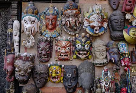 Selling colorful masks at Thamel District in Kathmandu, Nepal.