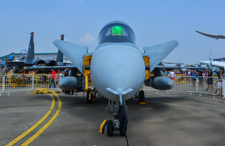 Singapore - Feb 10, 2018. A Boeing F/A-18E Super Hornet fighter aircraft of United States Navy on display in Changi, Singapore.
