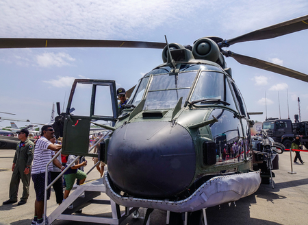 Singapore - Feb 10, 2018. An AS332M Super Puma helicopter of Singapore Air Force (RSAF) on display in Changi, Singapore. 報道画像
