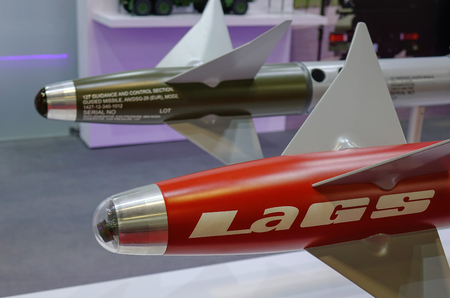 Singapore - Feb 10, 2018. IRIS-T Short-Range Air-to-Air missiles on display in Changi, Singapore. 報道画像