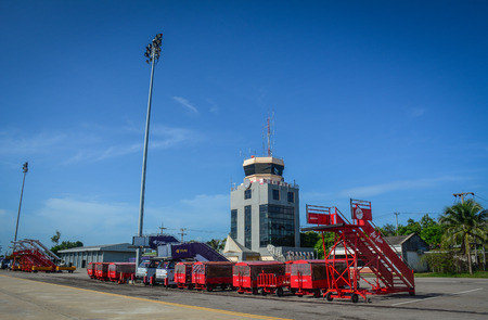Chiang Mai, Thailand - Jun 22, 2016. Vehicles on airfield of Chiang Mai Airport, Thailand. Redakční