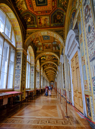 St. Petersburg, Russia - Oct 13, 2016. The Raphael Loggias of Hermitage Museum (Winter Palace) in St. Petersburg, Russia.