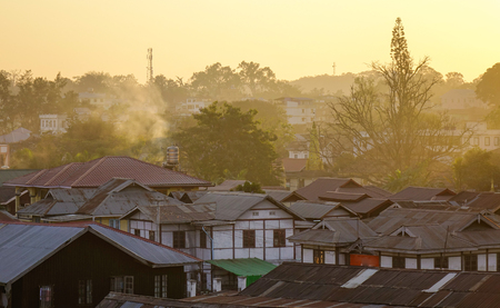 Aerial view of ancient township at sunset in Pyin Oo Lwin, Myanmar.