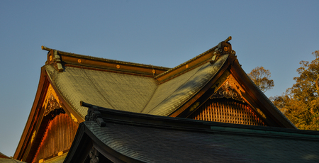 Roof top of ancient Shinto Shrine in Mie Prefecture, Japan.