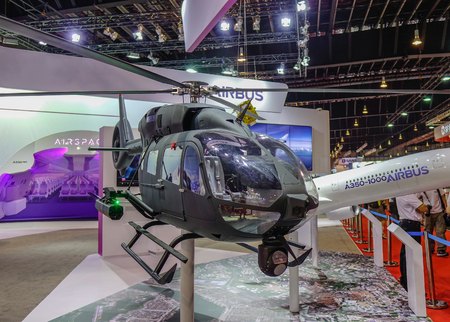 Singapore - Feb 11, 2018. An Airbus helicopter on display in Changi, Singapore.