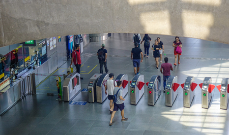 Singapore - Feb 11, 2018. Interior of MRT station in Singapore. The MRT is a rapid transit system forming the major component of the railway system in Singapore.