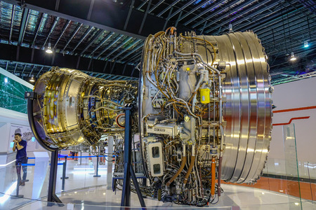 Singapore - Feb 11, 2018. Turbofan Rolls-Royce Trent 1000 displayed in Changi, Singapore.