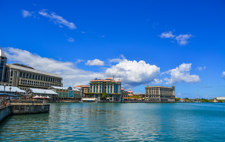 Port Louis, Mauritius - Jan 4, 2017. View of Caudan Waterfront in Port Louis, Mauritius. Port Louis is the country economic, cultural and political centre.