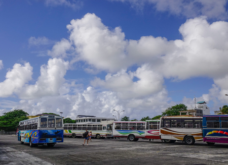 Port Louis, Mauritius - Jan 4, 2017. Bus station in Port Louis, Mauritius. Port Louis is the country economic, cultural and political centre. Editorial