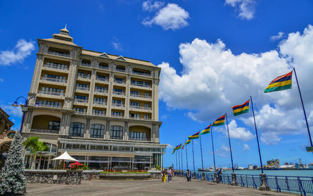 Port Louis, Mauritius - Jan 4, 2017. National flags at main square of Port Louis, Mauritius. Port Louis is the country economic, cultural and political centre. Editorial