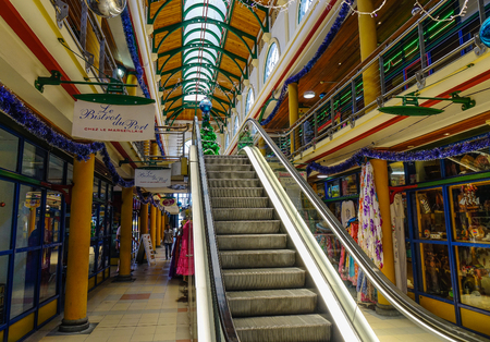Port Louis, Mauritius - Jan 4, 2017. Interior of shopping mall in Port Louis, Mauritius. Port Louis is the country economic, cultural and political centre. Editorial