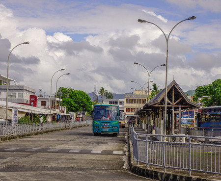 Port Louis, Mauritius - Jan 4, 2017. A bus stopping at station in Port Louis, Mauritius. Port Louis is the country economic, cultural and political centre.