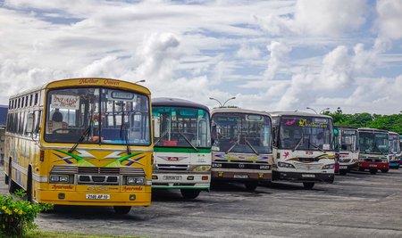 Port Louis, Mauritius - Jan 4, 2017. Local buses at station in Port Louis, Mauritius. Port Louis is the country economic, cultural and political centre. Editorial