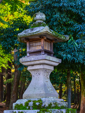 Japanese ancient stone lantern with green park background.
